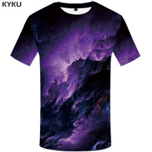 KYKU Galaxy T-shirt Men Space Shirt Print Nebula T-shirts 3d Abstract Tshirt Printed Harajuku Funny T shirts Short Sleeve