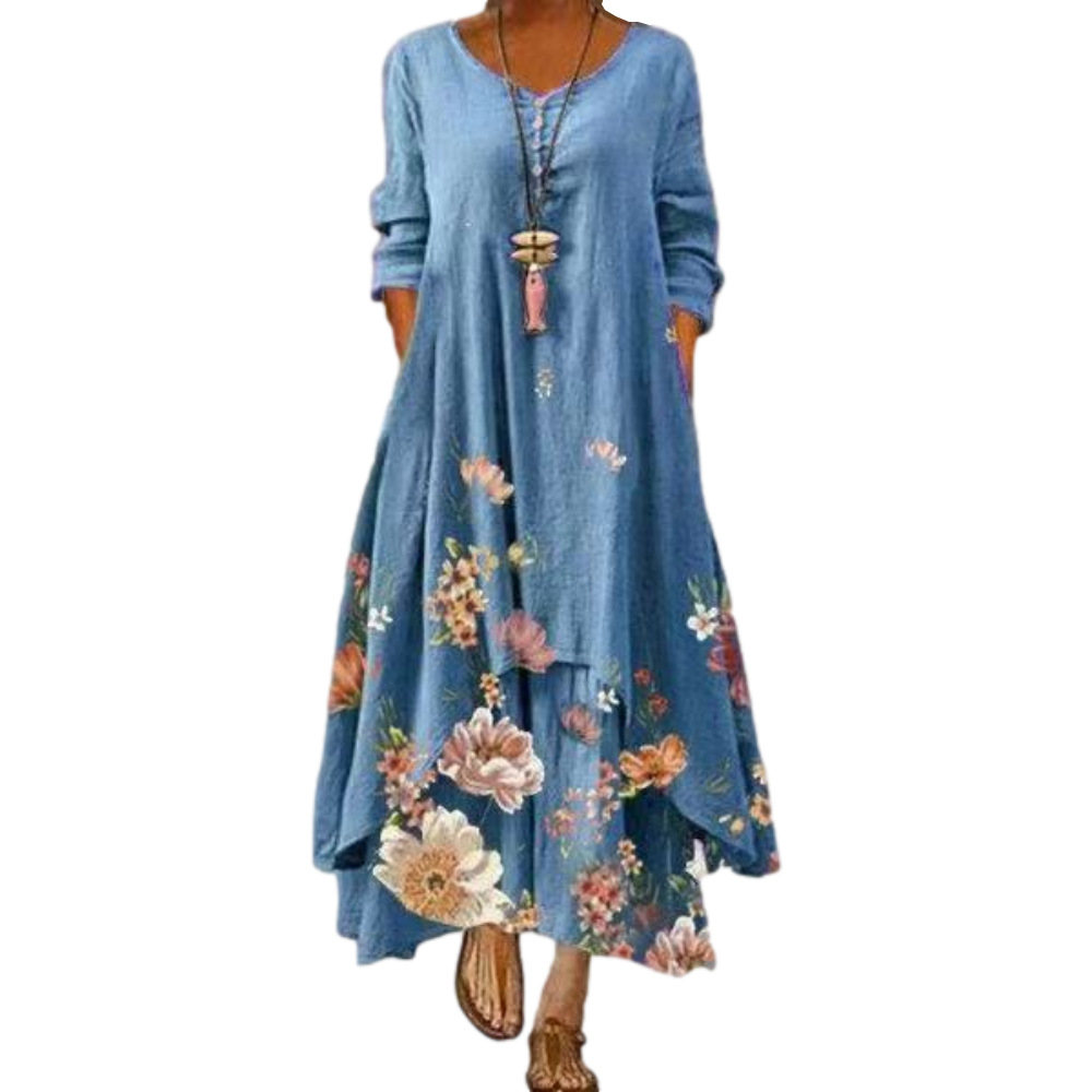 Vestido de verão 2021 estilo europeu e americano moda popular impresso longo mangas compridas vestido feminino ins tendência on-line venda quente b060