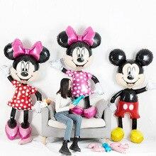 Фольгированные шары с Микки и Минни Маус, 112 см, Мультяшные шары, украшения для дня рождения, Детские вечерние игрушки, шары, шары