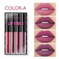 4PCS Lip Gloss Sets Long Lasting Moisturizing Waterproof Non-stick Cup Lip Glaze Lipstick Fashion Matte Lip Gloss Lips Makeup 2