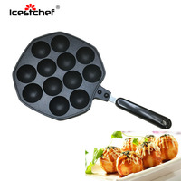 ICESTCHEF 12 Cavities Octopus Balls Maker Non stick Pan Aluminum Alloy Octopus Balls Baking Tray Home Cooking Tools
