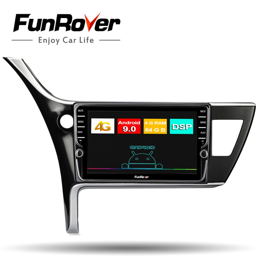 Funrover 4G+64G android 9.0 <font><b>car</b></font> dvd player for <font><b>toyota</b></font> corolla 2017-2018 (Left Hand <font><b>Drive</b></font>) <font><b>car</b></font> radio video audio stereo DSP FM image