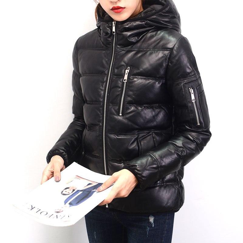 Leather Genuine Down Jacket Woman Hooded 2020 Winter Jacket Women 100% Sheepskin Coat Female Parka Chaqueta Mujer MY3787