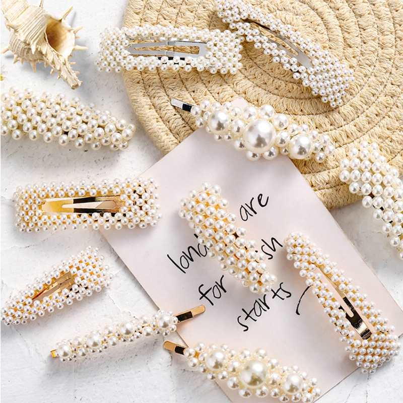 Fashion Pearl Hair Clip For Girl Women Elegant Korean Design Snap Barrette Stick Hairpin Hair Styling Accessories