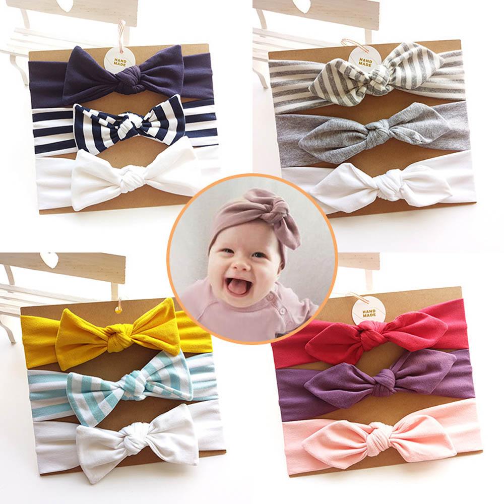 3 Pcs/set Rabbit Ear Baby Headband For Girls Handmade Cotton Knot Cute Strip Bow Baby Headwear Headband Newborn Hair Accessories