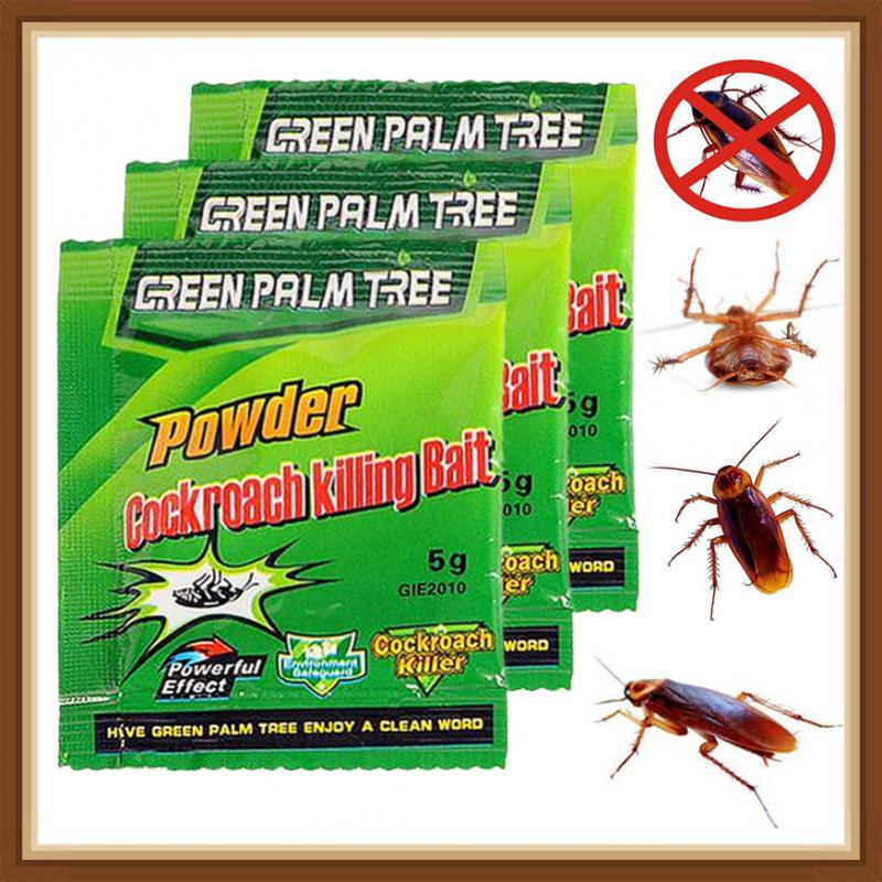 5pcs Kitchen Powerful Effective Cockroach Killing Bait Pest Control Cockroach Killer Pets Repellent Powder Home Deworming Items