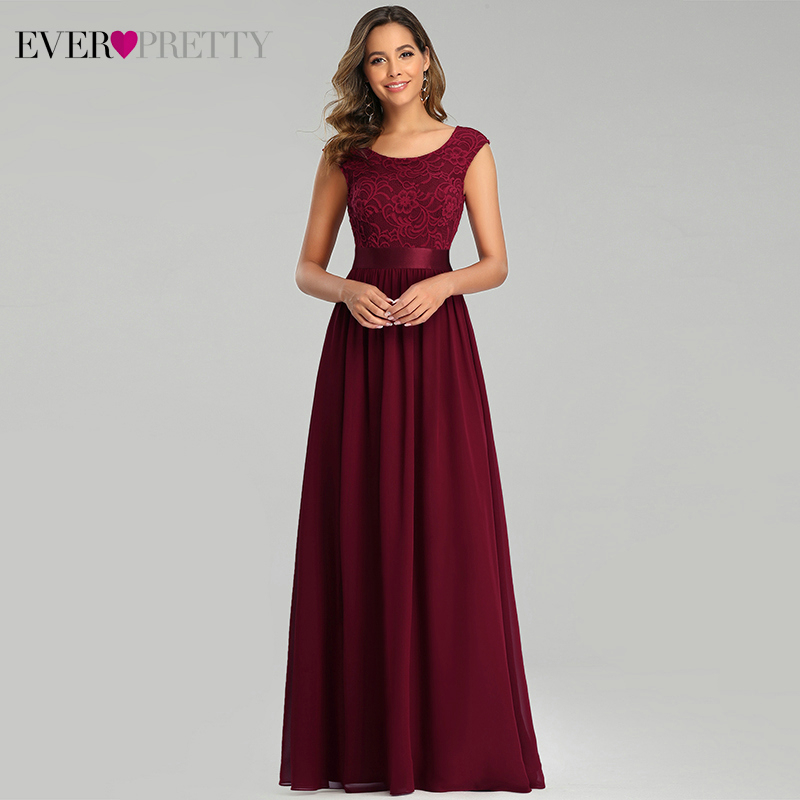 Burgundy Lace Evening Dresses Ever Pretty EP00646BD A-Line O-Neck Sleeveless Formal Dresses For Party Vestidos De Noche 2020
