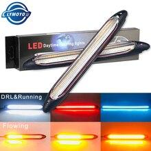 2x Car DRL LED Daytime Running Light Flow Yellow Turn Signal White DRLScan Waterproof Headlight Strip Sequential Light Universal