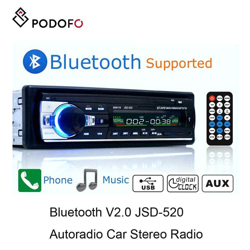 Podofo radio samochodowe 1 din Stereo Bluetooth pilot zdalnego sterowania cyfrowy Bluetooth Audio muzyka Stereo Mp3 odtwarzacz USB/SD/ AUX-IN