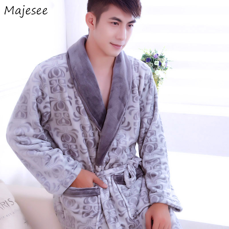 Robe Men Autumn Printed Hot Sale High Quality Comfortable Mens Robes Long Sleeve Turn-down Collar Thicker Home Clothing Simple