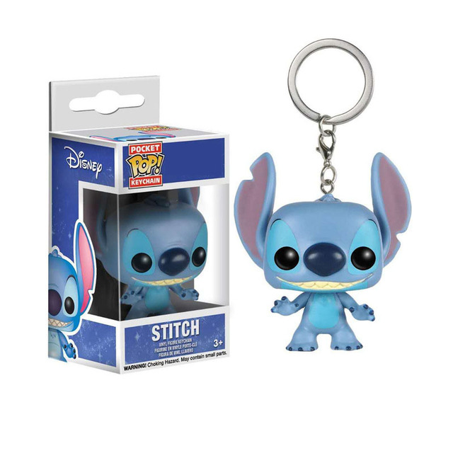 FUNKO POP Keychain Frozen Toy Story Elsa Anna Olaf Stitch Forky Decoration Models Pendant Chain Ring Figure Toys for Kids Gifts 3