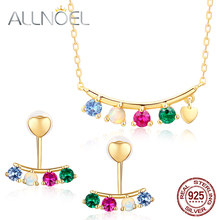 ALLNOEL Natural Opal Gemstone Fine Jewelry Sets Diamond For Women Necklace Earrings 100% Sterling Silver 925 Gold Wedding Gift