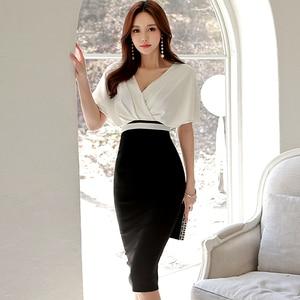 Женское офисное облегающее платье-карандаш, облегающее платье миди с коротким рукавом и v-образным вырезом, одежда для особых случаев, для л...