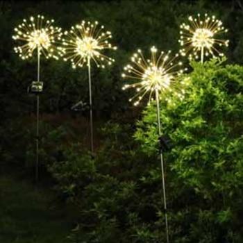 New 8 Mode Fireworks Lights 120 LED Indoor String Lights Solar Charging Christmas Fairy Lights Copper Wire Lights Outdoor Garden