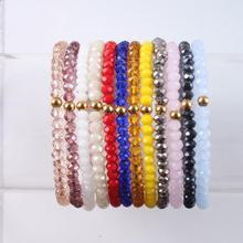 DIY Simple Colourful Glass Crystal Red Rose Gold Beads Wrap Bracelet Femme Bracelets for Women 2021 Trend