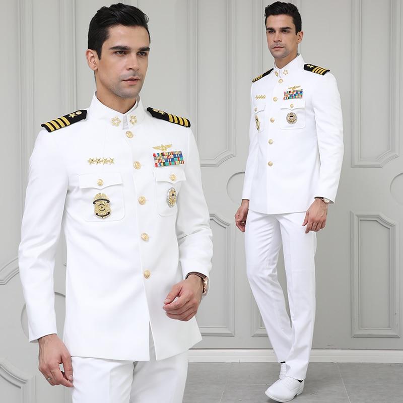 Men's White Navy Suit Uniform Sets Slim Fit Dress Wedding Uniform Male Meeting Evening Performance Costume Homme Jackets