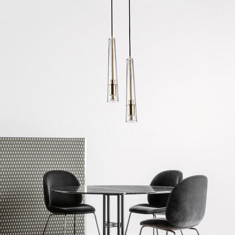 Europe du nord chambre chevet lustre concepteur créatif Cool magasin de vêtements Restaurant Bar compteur conique verre petite goutte