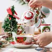 VEWEET SANTACLAUS Kerst Patroon Porselein Persoonlijke Thee Set voor Een, met Theepot Theekopje en Schotel Service voor Kerst