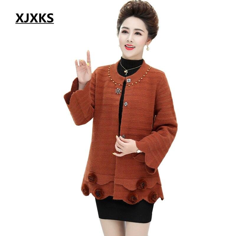 XJXKS femmes grande taille manteau en laine automne et hiver Flare manches o-cou Long manteau lâche confortable manteau élégant décontracté manteau