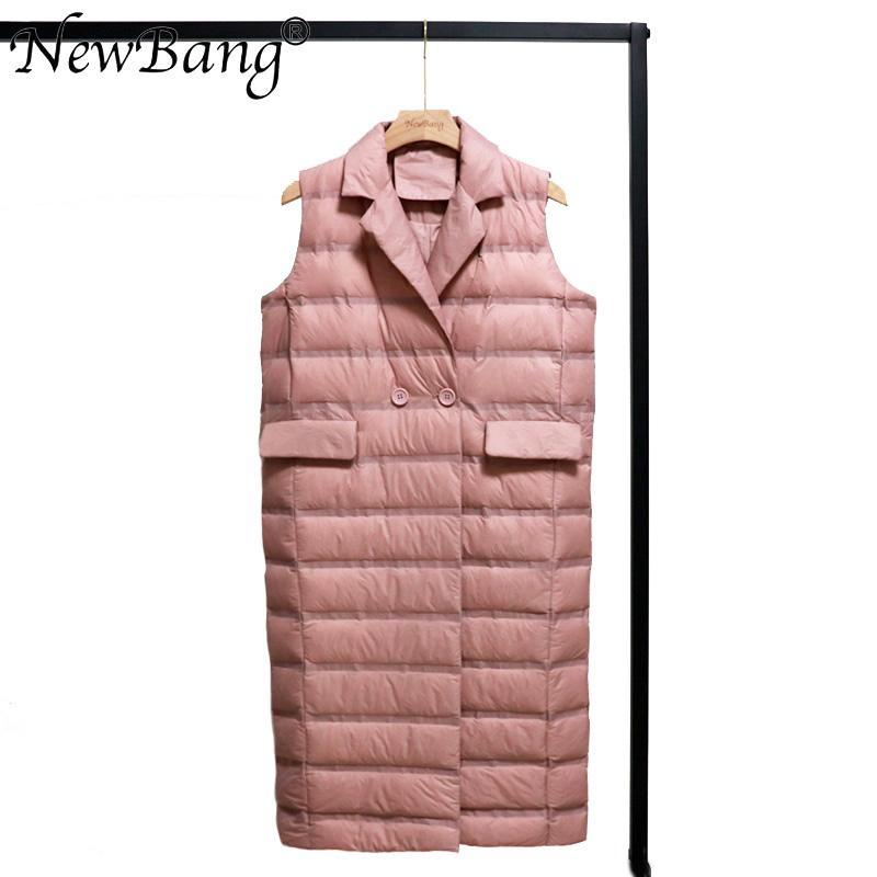 NewBang Women's Long Vest Ultra Light Down Vests Women Female Down Coat Long Sleeveless Windproof Lightweight Warm Waistcoat