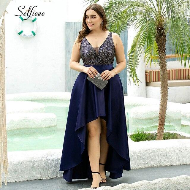 Plus Size Sequin Dress A-Line Spaghetti Straps V-Neck Sequined Asymmetrical Ruffles Elegant Satin Party Dress Vestidos De Verano 1