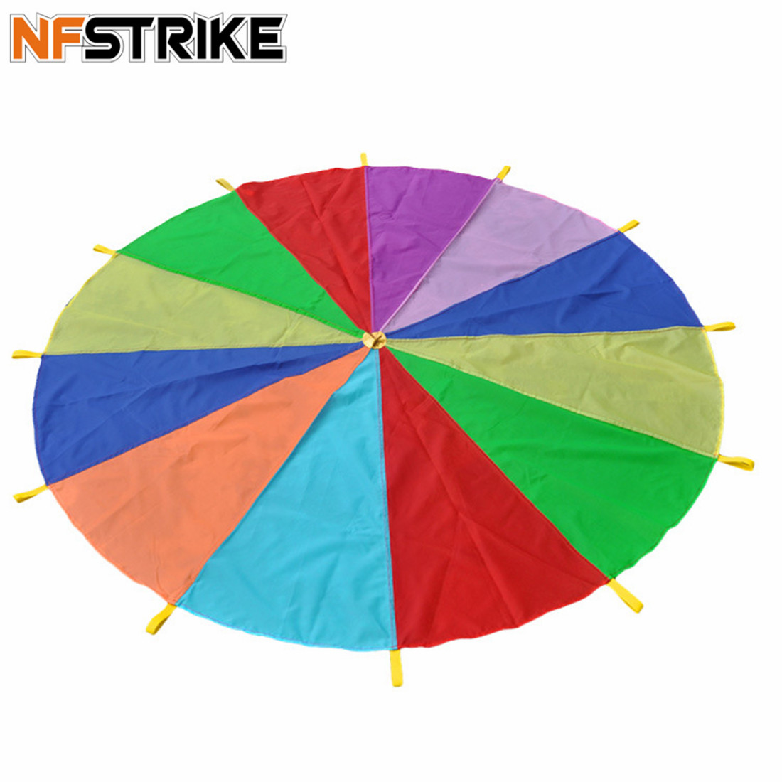 3m Family Rainbow Outdoor Play Parachute Early Childhood Training Equipment For Kids Children Adults Sports Toys - Color Random