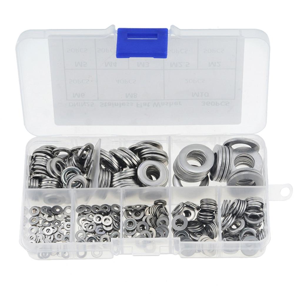 360 pièces/boîte M2-M10 acier inoxydable rondelle plate joints unis assortiment Kit entretoises Kit vis boulon fixation métal M2.5 M3 M4