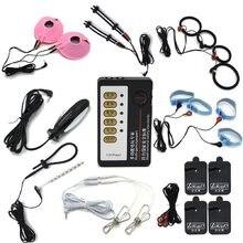 Elektro şok Anal Plug Penis Cock yüzükler masaj yastığı meme kelepçeleri tıbbi temalı oyuncaklar erkekler için elektrikli teşvik seks