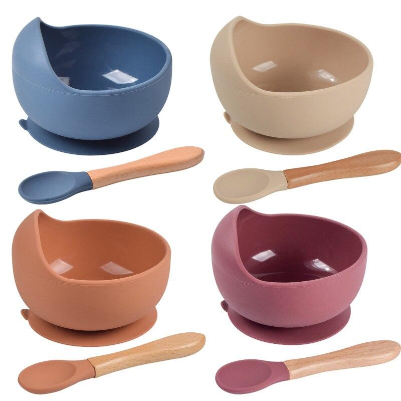 Детская силиконовая чаша, детская посуда, водонепроницаемая чаша на присоске, набор ложек, без БФА, силиконовые блюда для кормления, Набор д...