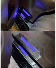 Стайлинг автомобиля порог бампер ворота защитная пластина светодиодный