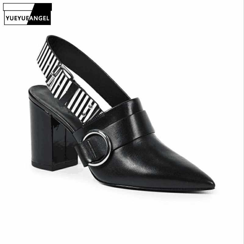 Moda 2019 szpiczasty nosek wysokie sandały na obcasie kobiety 8CM obcas Plus rozmiar 43 luksusowy blok obcasy klamra Party sandały letnie obuwie
