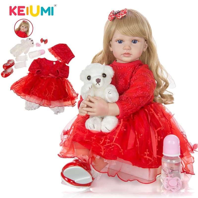 KEIUMI 24 Polegada Elegante Renascer Baby Girl Boneca 60 cm Corpo De Pano Princesa Boneca de Vinil Macio Lifelike Boneca Reborn para Crianças melhor Playmate