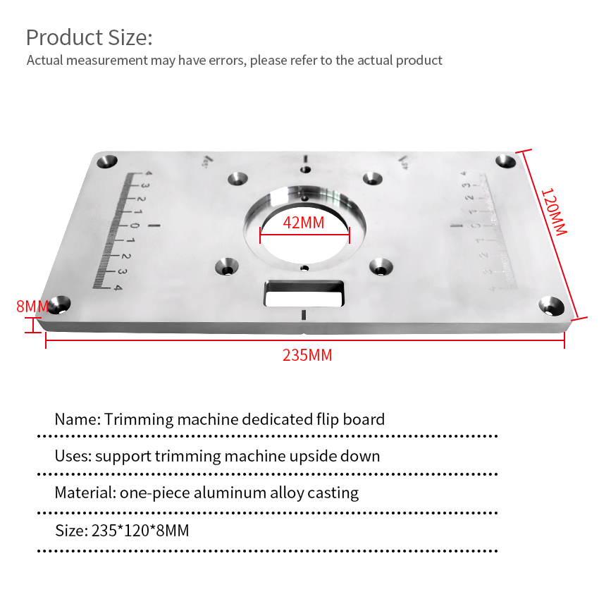 Trimming Machine Flip Plate Woodworking Slotting Wood Milling Guide Multifunction Aluminum Router Table Insert Plate 120x235x8