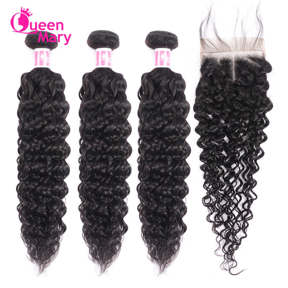 Malaysian Kinky Curly Hair Bundles With Closure 100% Human Hair Weave 3 Bundles With Closure NonRemy 4x4 Lace Closure Queen Mary