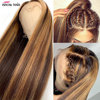 Ishow Highlight Wig Brown Colored Human Hair Wigs for Women Ombre Straight Lace Front Wig Highlight Lace Front Human Hair Wigs 2