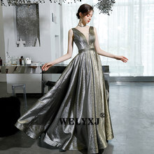 Evening Dresses Long Pretty Sexy Deep V-neck evening dress long dress v-neck sleeveless backles Sequined Sparkle New Form(China)