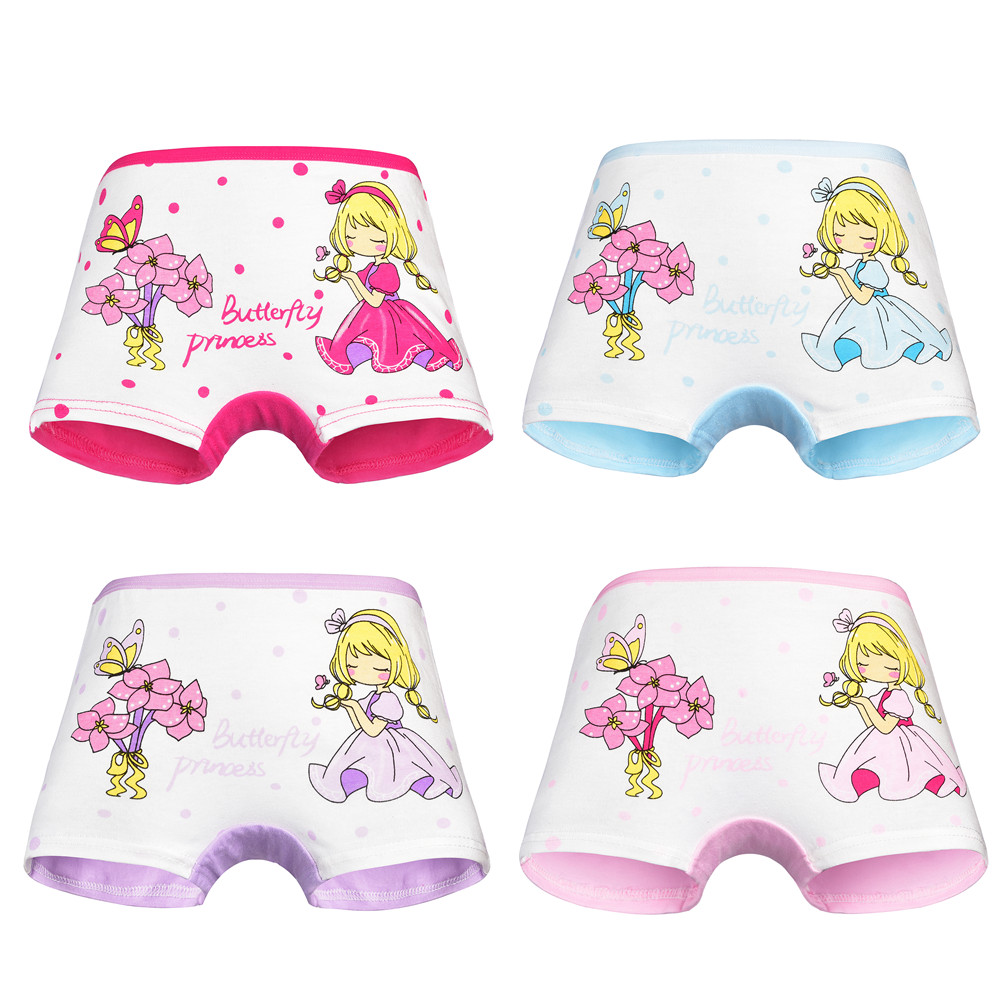 4 Pcs/ Lot Kids Panties Cotton Girls Panty Cute Cartoon Patterns Child's Underwear Briefs Girl Underpants Children Clothes 2-12Y