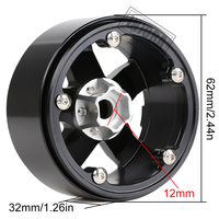 INJORA 4PCS Metal 2.2 Beadlock Wheel Rim 5 Spokes Hub for 1/10 RC Rock Crawler Axial SCX10 90046 RR10 Wraith TRAXXAS TRX4 2