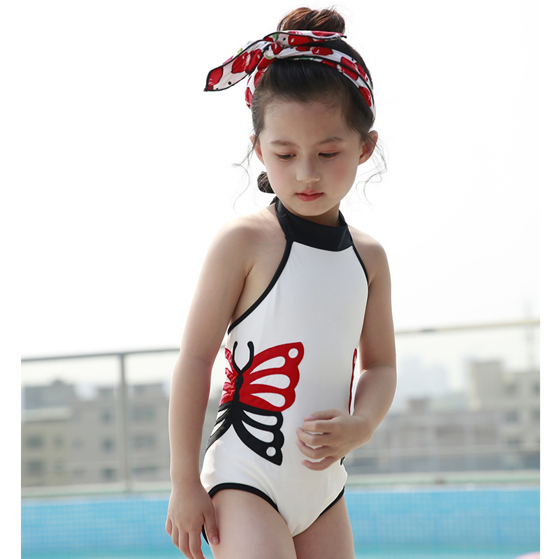 Korean-style GIRL'S One-piece Swimming Suit Cute Butterfly KID'S Swimwear Children Baby Quick-Dry Foreign Trade Bathing Suit