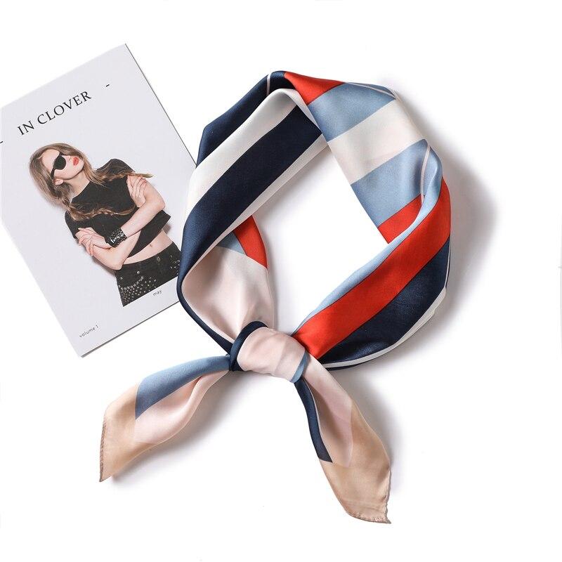 Lady Print Silk Scarf Hair Neck Band Office Tie Foulard Lady Square Scarves Bag Band Head Kerchief 70*70 Cm