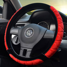 2019 New 36/40/38cm Autumn Winter Red Plush Sport Style Durable in use Leather Braid Steering Wheel Cover Furry Car Accessories