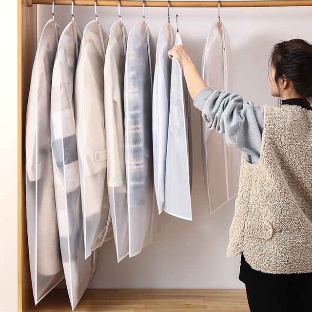 Hot Clothes Hanging Garment Dress Clothes Suit Coat Dust Cover Home Storage Bag Pouch Case Organizer Wardrobe Hanging Clothing 5