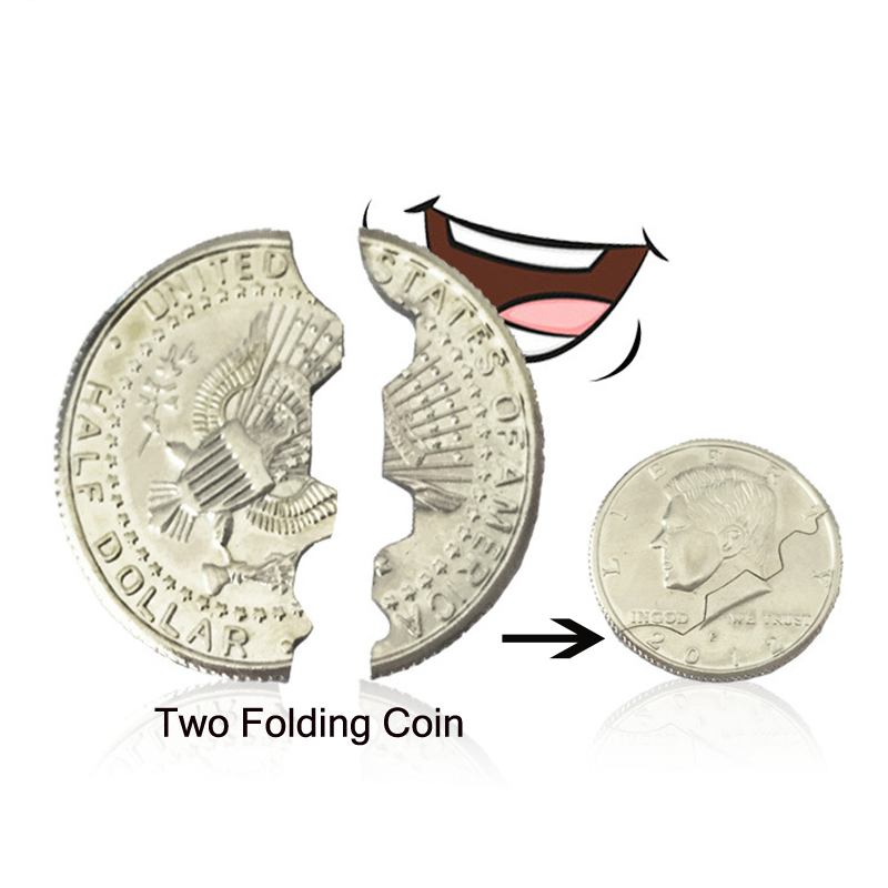 New Hot Two Fold Bite Coin Dollars Magic Close-Up Street Magic Tricks Prop Bite Coin And Bite Currency Restore Half Illusion image