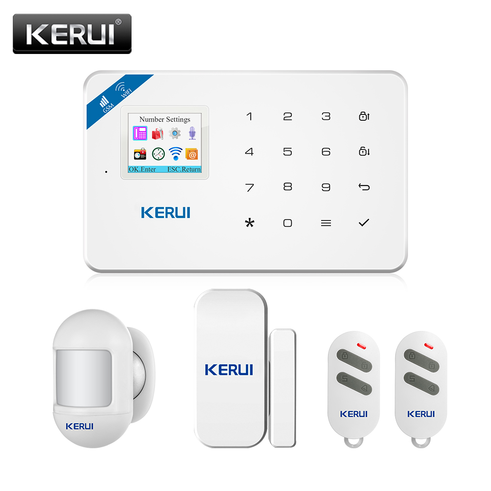 KERUI Home Security Alarm System W18 GSM WIFI Connection Mobile APP Receiving Color Screen Wireless Security Burglar Alarm Kit