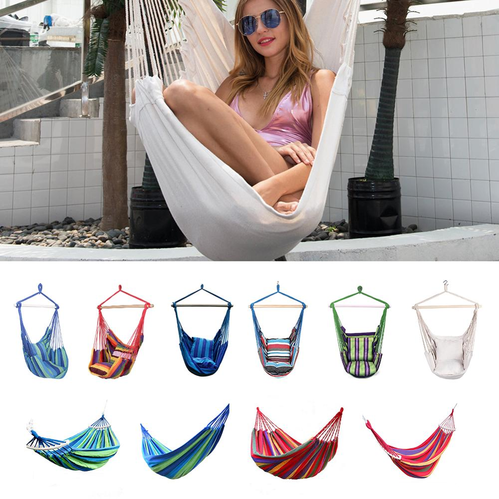 2020 Outdoor Safe Beige Hanging Hammock Chair With 2 Pillows Swing Rope Indoor Bar Garden Seat