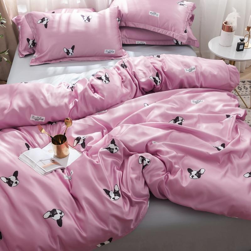 Online Celebrity Bedding Article Summer Sheet Quilt Cover Washing Silk Four-piece Set Viscose European Style Silky Tencel Summer