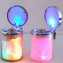 Auto Car LED Light Cylinder Ashtray Container Holder Storage Cup Anti-soot Leakage