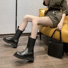 Chelsea bottes 2020 femme en cuir femmes bottes talons épais bottines pour femmes bout rond chaussures dhiver femmes plate forme bottes