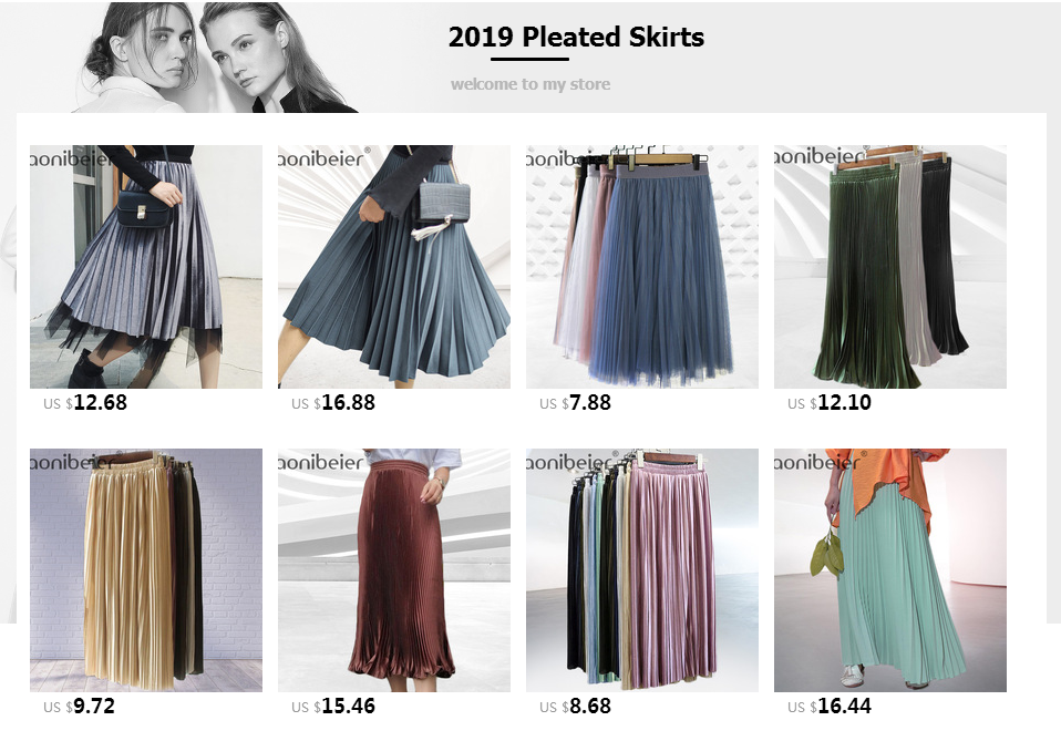 Aonibeier Fashion Women's High Waist Pleated Solid Color Length Elastic Skirt Promotions Lady Black Pink Party Casual Skirts 55