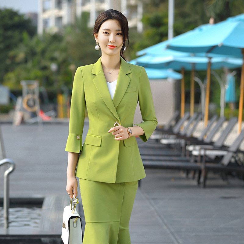 Office Ladies Skirt and Jacket Two Piece Set Formal Work Business Skirt Suits Black Green Womens 3/4 Sleeve Blazer Skirts Suits